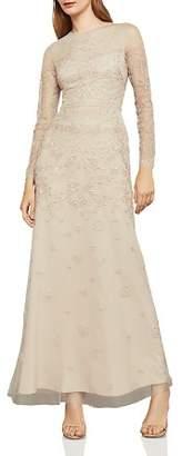 BCBGMAXAZRIA Metallic Embroidered Tulle Gown
