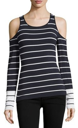 Bailey 44 Harbor Master Cold-Shoulder Striped Top, Blue/White $148 thestylecure.com