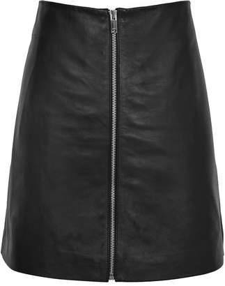 at Reiss Reiss Annabelle - Zip-detail Leather Skirt in Black