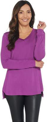 Halston H By H by Essentials V-Neck Long Sleeve Curved Hem Top