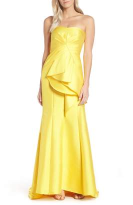 Adrianna Papell Strapless Ruffled Evening Dress