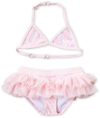 Kate Mack For Biscotti (Girls 4-6x) Two-Piece Pink Sequin Tutu Bikini Set