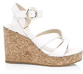 Jimmy Choo Women's Aleili Leather Cork Wedges