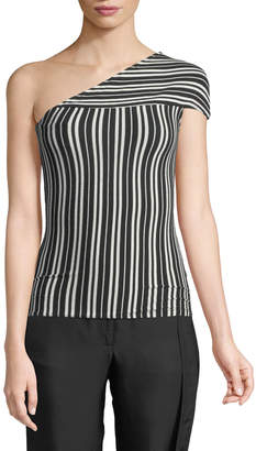 Beaufille Mensa One-Shoulder Striped Rib-Knit Top