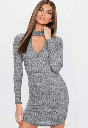 Missguided Gray Ribbed Choker Neck Bodycon Dress