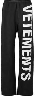 Vetements Printed Cotton-blend Jersey Track Pants - Black