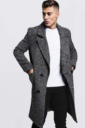 boohoo Textured 3/4 Smart Lined Overcoat