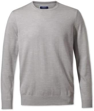 Charles Tyrwhitt Silver Merino Wool Crew Neck Sweater Size XS