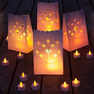 Frux Home and Yard 24 Flameless Tea Lights Yellow Flickering LED Tealight Candles with 12 Bonus Luminary Bags