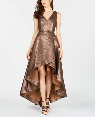 Calvin Klein Metallic High-Low Gown