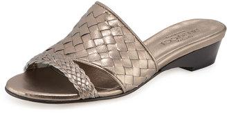 Sesto Meucci Gabri Woven Leather Slide Sandal, Pewter $195 thestylecure.com