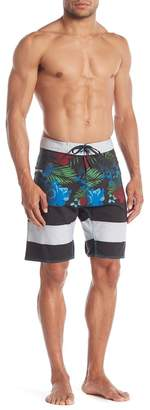 Burnside Frond & Floral Patterned Boardshorts