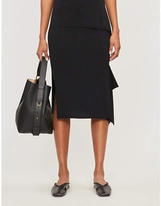 Max Mara Fano asymmetric-hem ribbed-knit skirt