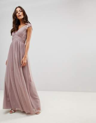 Little Mistress All Over Lace Scallop Back Plunge Front Maxi Dress