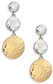 John Hardy Dot Hammered 18K Yellow Gold& Sterling Silver Triple Drop Linear Earrings