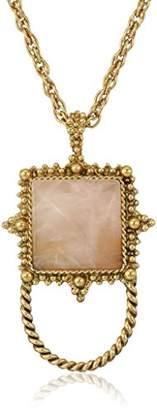 1928 Jewelry Womens Gold-Tone Semi-Precious Rose Quartz Square Eyeglass/Badge Holder Pendant Enhancer
