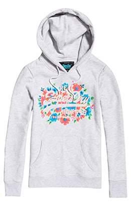 Superdry Women's V Logo Puff Floral Entry Hood Sweatshirt