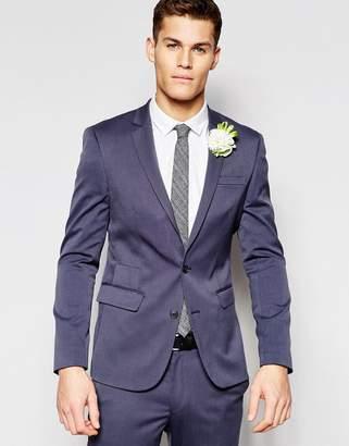 Asos Design Wedding Skinny Suit Jacket In Blue