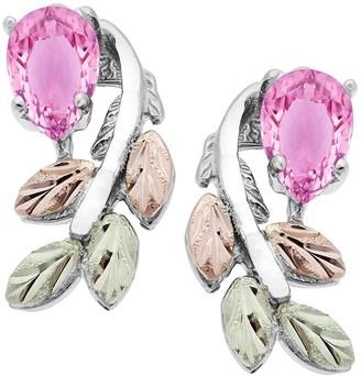 Black Hills Pink Cubic Zirconia Leaf Earrings,Sterling/12K