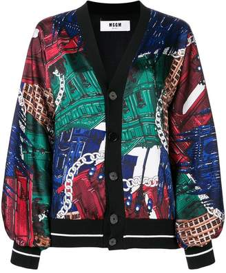 MSGM shoulder-padded printed cardigan