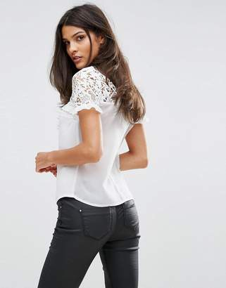 Lipsy Frill Detail Top With Lace Back