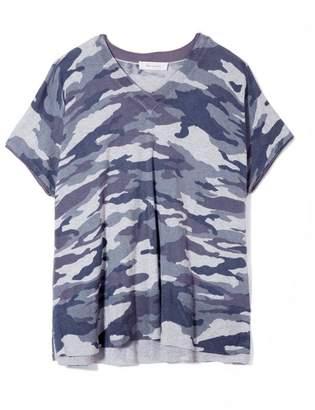 Vince Camuto Camo-print Short-sleeve Sweater