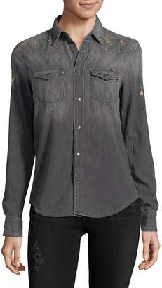 Mother Women's Graphic Denim Button-Down Shirt
