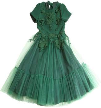 Crepe Cady & Stretch Tulle Long Dress