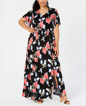 81d6220e506 INC International Concepts I.n.c. Plus Size Printed Flutter-Sleeve Maxi  Dress