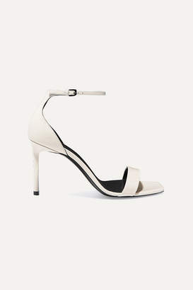 Saint Laurent Amber Patent-leather Sandals - Ivory