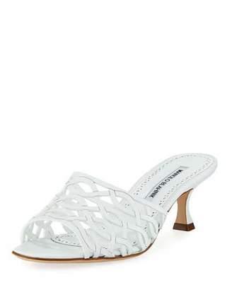 Manolo Blahnik Bensa Cutout Leather Slide Sandal