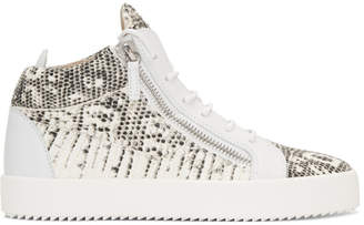 Giuseppe Zanotti Black and Off-White Snake May London High-Top Sneakers