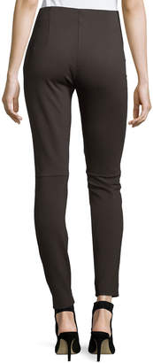 Neiman Marcus Stretch Suede and Ponte Biker Leggings