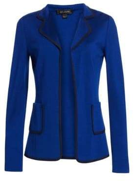 St. John Women's Milano Stretch Wool Jacket - Blue Navy - Size 2