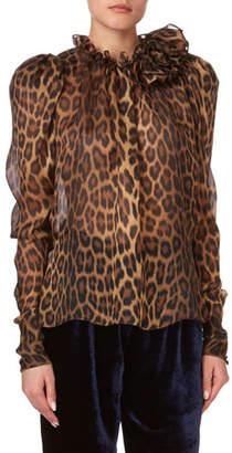 Magda Butrym Canazei Leopard-Print Ruffle Blouse