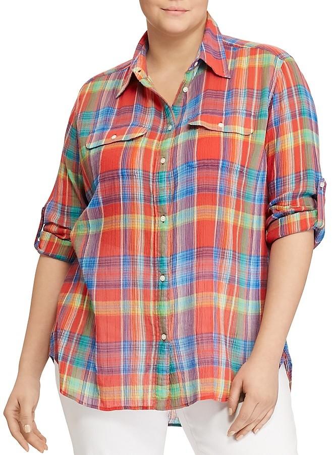 Lauren Ralph LaurenLauren Ralph Lauren Plus Madras Plaid Utility Shirt