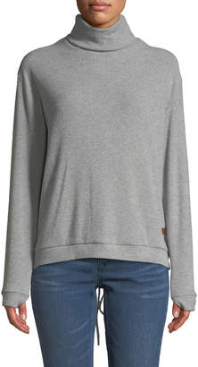 Peace Love World Catherine Ribbed Lace-Up-Back Turtleneck Sweater Gray