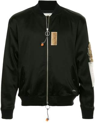 Education From Youngmachines faux fur patches bomber jacket