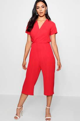 boohoo Plunge Twist Capped Sleeve Jumpsuit