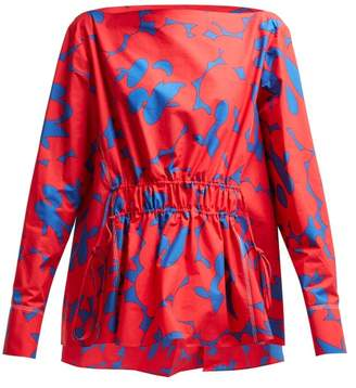 Marni Floral Print Cotton Top - Womens - Red Multi