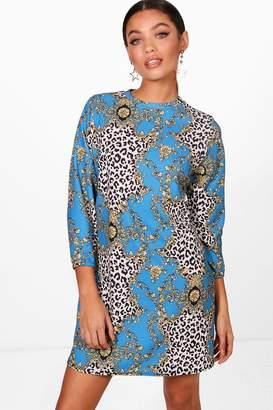 boohoo Chain & Animal Print High Neck Shift Dress