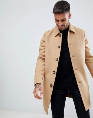 Asos DESIGN wool mix trench coat in camel