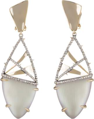 Alexis Bittar Lucite and Crosshatch Accent Clip Earrings