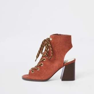 River Island Orange lace-up block heel shoe boots