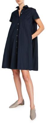 Aspesi Button-Front Short-Sleeve Poplin Swing Dress
