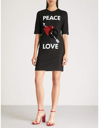 Love Moschino Peace Love jersey T-shirt dress
