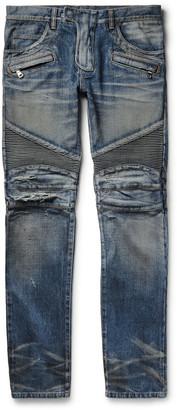 Balmain Slim-Fit Distressed Denim Biker Jeans $1,635 thestylecure.com