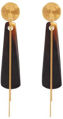 Chan Luu 18K Gold Plated Sterling Silver Black Horn Earrings