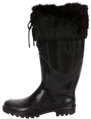 Burberry Fur-Trimmed Rain Boots