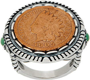 American West Sterling Silver & Copper CoinTurquoise Ring